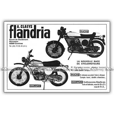 PUB FLANDRIA 50 SCORPION & MACH 6 - Original Moped Advert / Publicité Cyclo 1974