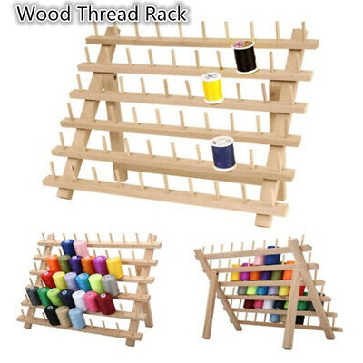 12-120 Spools Wood Sewing Thread Rack Stand Organizer Embroidery Storage Holder
