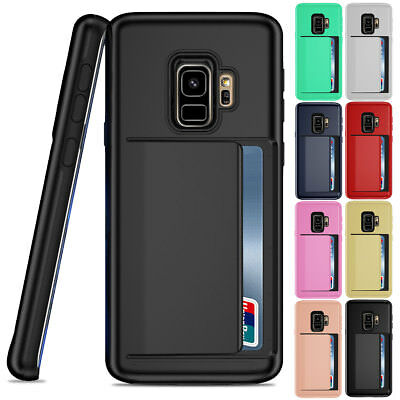 Credit Card Holder Clip Shockproof Case For Samsung Galaxy Note 8 9 / S8 S9 Plus