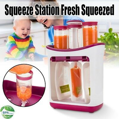 Baby Feeding Food Squeeze Station Infant Fruit Puree Maker Homemade System AU