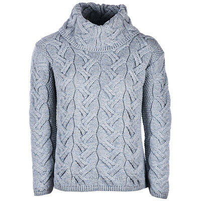 Ladies Chunky Cable Cowl Wool Sweater by Aran Mills - Light Grey