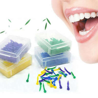 100 PCS Dental Plastic Poly-Wedges with Holes Round Stern 4 Colors 4 Size SJU