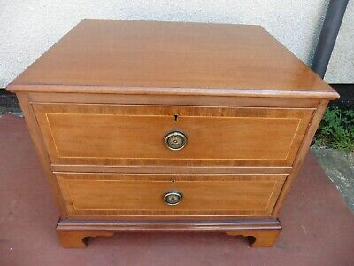 Antique Edwardian Inlaid Mahogany Chest Of Drawers, 2 Deep Drawers, Clean & Tidy