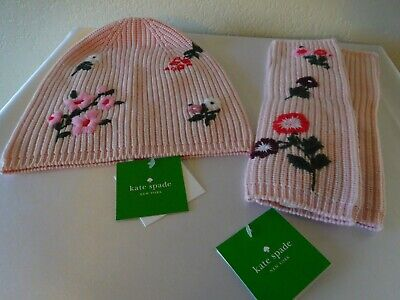 New Kate Spade NY Rose Dew In Bloom Embroidered Beanie Cap w/ Fingerless gloves