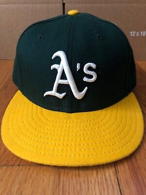 7631eda140e1 NEW ERA OAKLAND Athletics HOME 59Fifty Fitted Hat (Green/Yellow) MLB ...