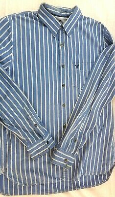 American Eagle AE Vintage Fit Size L Dress Shirt Blue/White Men's  (g2)