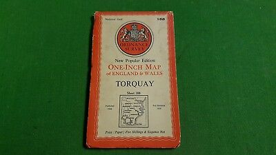 Sheet 188 Torquay Paper OS Map One Inch Ordnance Survey 1940s