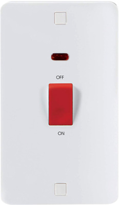 Knightsbridge 45A 1G Single Plate Wall Cooker Switch with Neon Ice Range