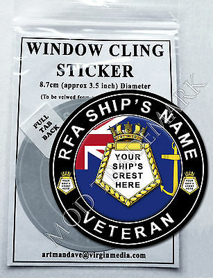 RFA SHIP'S CREST VETERAN WINDOW CLING STICKER 8.7cm diameter. (Ships Names E-G)