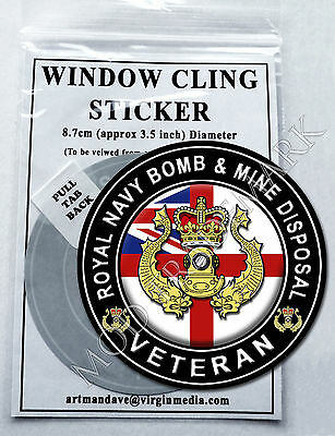 ROYAL NAVY BOMB & MINE DISPOSAL - VETERAN, WINDOW CLING STICKER  8.7cm Diameter