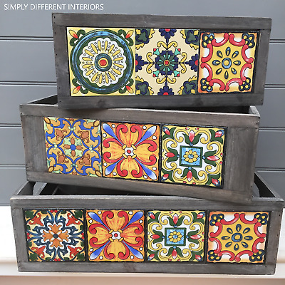 Rustic Wooden Display Storage Crates with Vibrant Moroccan style Ceramic Tiles