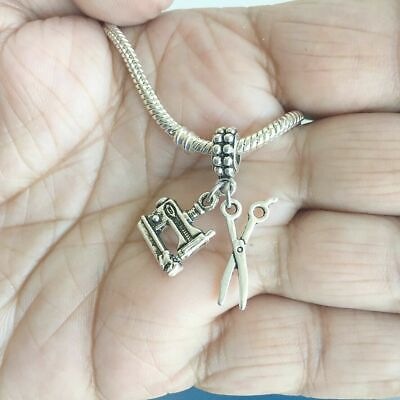 """Seamstress Tailor """" SEWING ITEMS"""" Silver Beads For Charm Bracelets"""