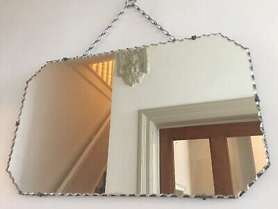 Vintage Frameless Cut Bevelled Edge Wall Mirror Original Chain 53x33cm m208