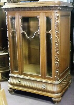 French Oak China Display Cabinet Lingerie Armoire Grape Carving & Unusual Size