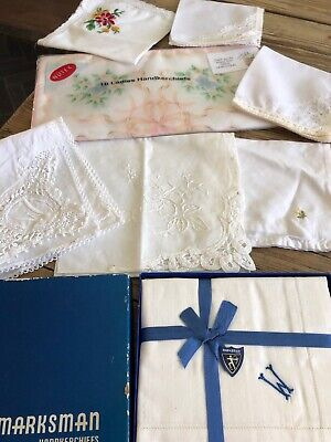 ladies vintage Lacy Embroidered Cotton Handkerchief Job Lot Bundle