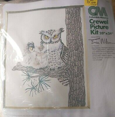 """Columbia Minerva Crewel picture kit #7925 OWL FAMILY 20""""by24"""" Erica Wilson"""
