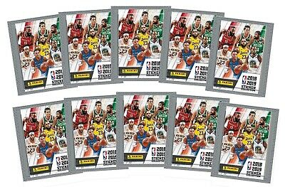 2018-19 Panini NBA Basketball Stickers, 10 Packs of 5 for 50 stickers
