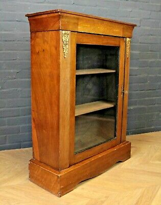 Antique Victorian Inlaid Walnut Pier Cabinet Cupboard
