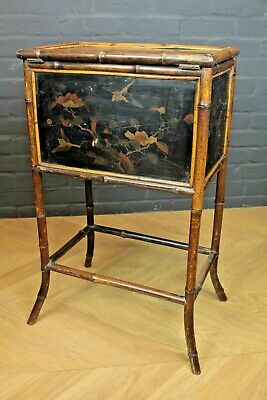 Antique Victorian Bamboo & Chinoiserie Bedside Sewing Table Work Table