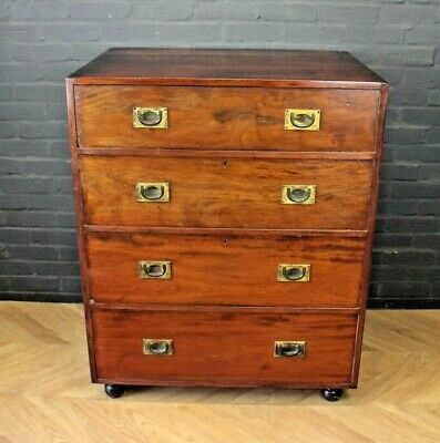 Antique Victorian Mahogany & Pine Campaign Chest ~ Four Drawer Chest of Drawers