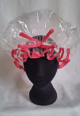 Handmade Clear Shower Cap with Red Polka Dot Trim
