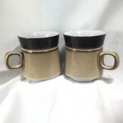 "Pair of Denby Country Cuisine Mugs Coffee Cup Brown  Tan 3 3/4"" Mid Century Look"
