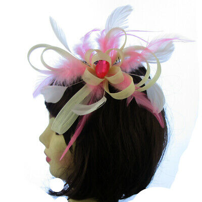 Cream and pink Hair Fascinator on comb Wedding Royal Ascot Races