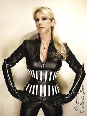 Sexy Leather Corset Black White underbust US12M42 weiss Schwarz Leder Korsett