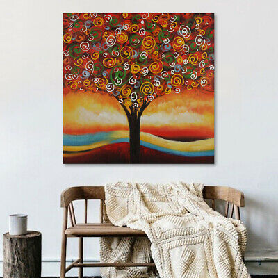 On Canvas Modern Art Handmade Framed Oil Painting Colorful Tree Ready to Hang