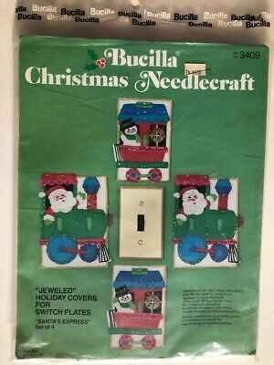 Buccilla Christmas Needlecraft~Jeweled Holiday Switch Plate Covers~3409~Train