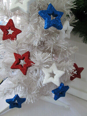 """12- 2.25""""  Patriotic Red, White  & Blue Cut Out Star Ornaments -4th of July, New"""