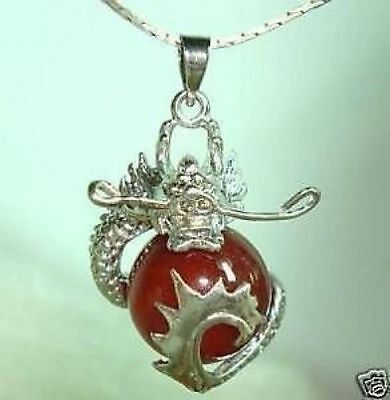 Chinese Beautiful red jade dragon Jewelry necklace pendant