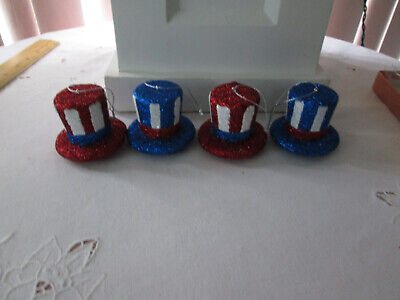 """3- 2""""  Patriotic Red & White & Blue Glitter Hat Ornaments-4th of July, New"""