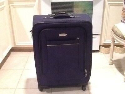 """Samsonite Westbrook 25"""" Expandable Soft-Side Spinner Luggage navy yellow trim"""