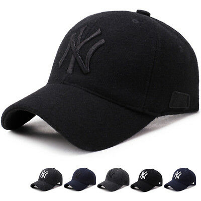 Winter Warmth NY Wool Baseball Caps Outdoor Casual Peaked Cap Black Hats 56-60cm
