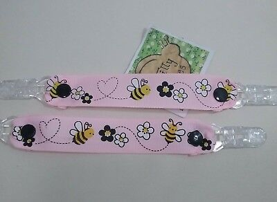 Pair MITTEN CLIPS Bee patterned PINK grosgrain ribbon glove savers girl boy kids