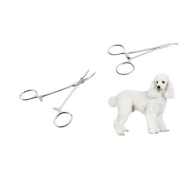 2 x Pet Grooming Dog Hemostat Forcep Tweezer Hair Puller EAR Curved Small