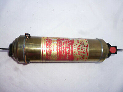 ANTIQUE BRASS STOKES PRESTO FIRE EXTINGUISHER with Wall Mounting Bracket