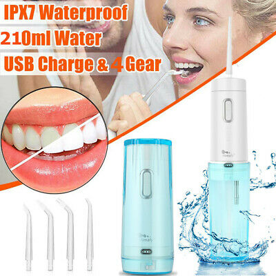 Cordless Water Flosser Oral Irrigator Teeth Cleaner Rechargeable W/ 5 Tips Bag
