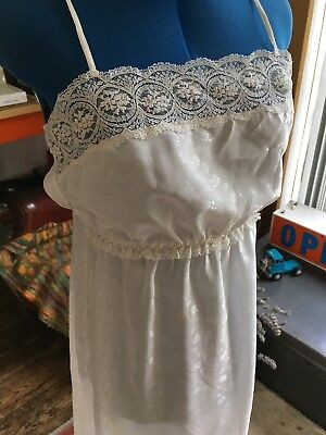 St Michael Vintage Nightie Negligee Lacey Trim Size 14 Satin Feel Long jacquard