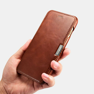 ICARER Luxury Vintage Genuine Leather Magnetic Flip Case Cover for iPhone New