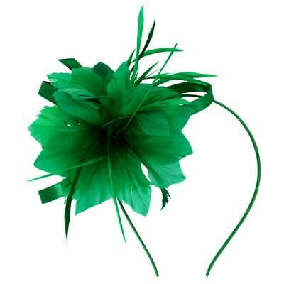 New Satin Loop Feather Flower Fascinator On Satin Covered Alice Band