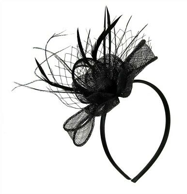 New Sinamay flower With Feather And Net Fascinator On Alice Band
