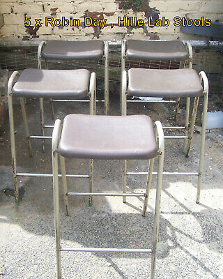 Robin Day Hille Flat Top Lab Stools x 5 Vintage School Science Lab 1970s