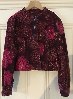 Gap Kids Girls Pink Floral Print Needlecord Lined Jacket L/G 10 Years 140cm VGC