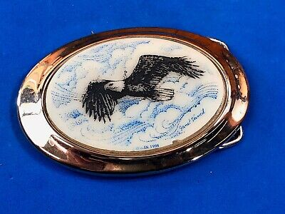 Vintage Wo-Di 1998 signed belt buckle - picture of eagle by Janet Vancil?
