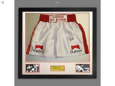Signed and Framed Custom Made Boxing Trunks of Roberto Duran Proof COA