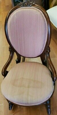 Antique Rocking Chair ~ Pink Fabric~  Nice Piece~1900-50's  WE SHIP!