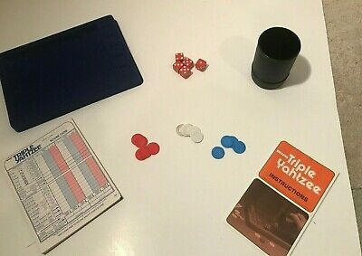Deluxe Triple Yahtzee Dice Board Game - Needs Cleaned - Missing 1 blue chip