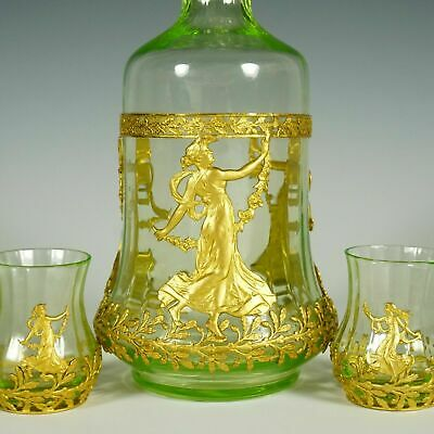 Antique French Empire Gilt Bronze Ormolu Glass Liquor Service Decanter, Cordial